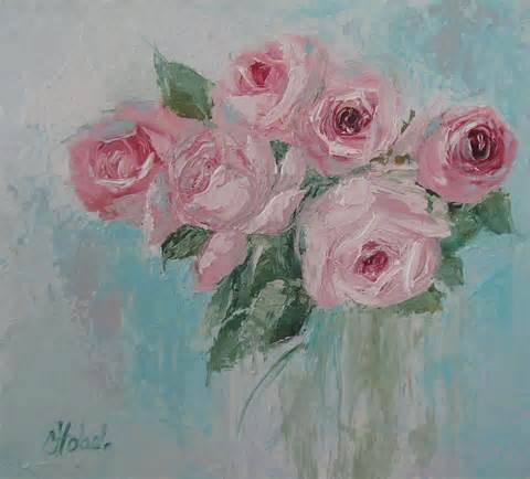 shabby chic pink roses oil palette knife painting painting