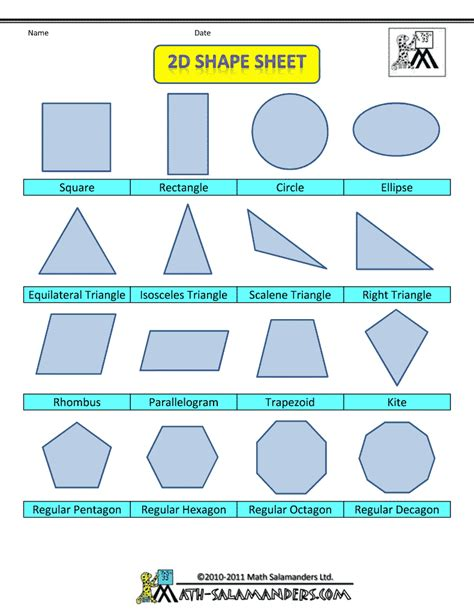 2d printable coloured shapes printable shapes 2d and 3d math mania pinterest