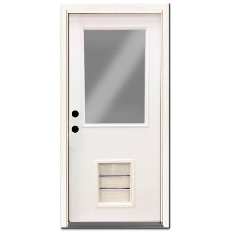 30 X 80 Exterior Door With Window Steves Sons 30 In X 80 In Premium Half Lite Primed White Steel Prehung Front Door With Large
