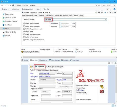 Comprehensive Search Solidworks Pdm Search Configuration Name In The Vault
