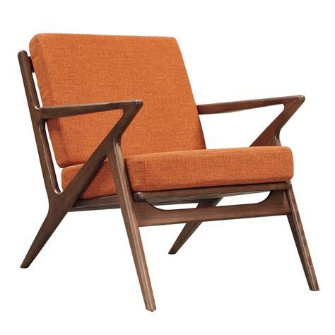 modernist chair zain mid century modern orange fabric chair with wooden