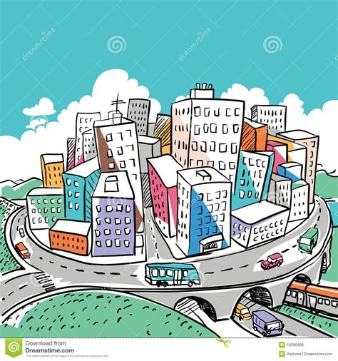 doodle city funky city doodle illustration stock vector illustration