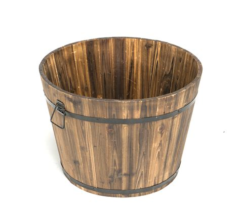 large round whiskey barrel planter
