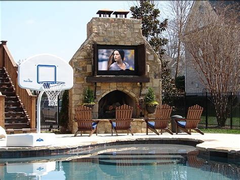 backyard tv outdoor fieplace and tv contemporary pool nashville