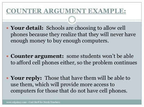 Counter Argument Essay Sle teaching counter arguments to students
