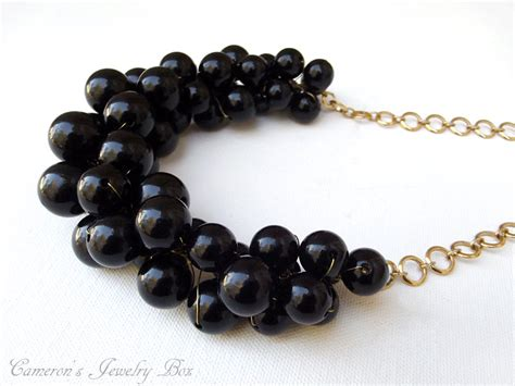black chunky necklace statement necklace black and gold