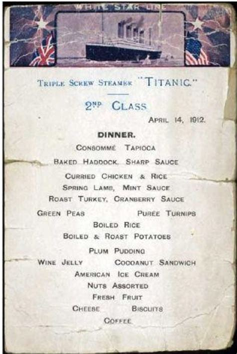 titanic second class menu from cockie leeky to gruel meals of the titanic so good