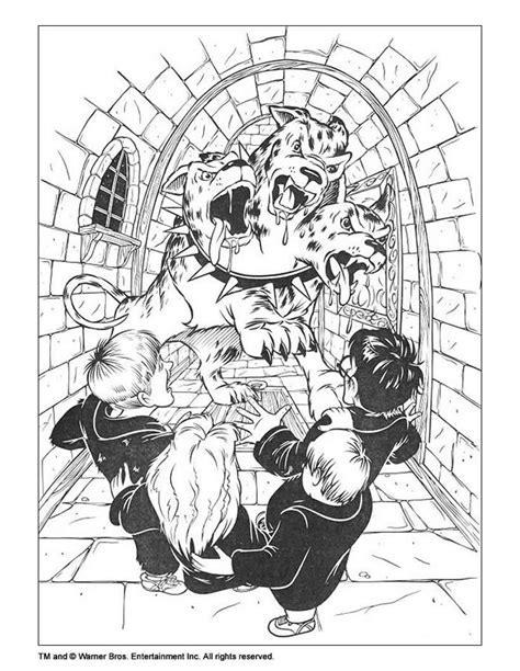 harry potter fluffy coloring page harry potter mit 3 k 246 pfigem hund zum ausmalen zum ausmalen