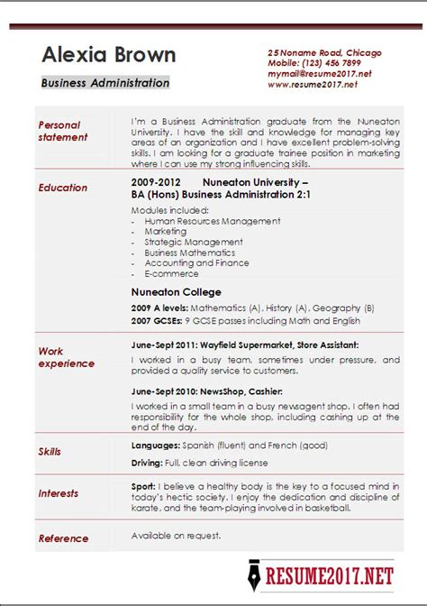 Resume Exles 2017 Business Administration Resume Exles 2017