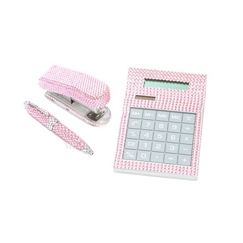 3 pink desk office accessory supply set