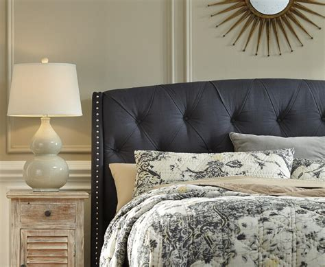 Gray Fabric Headboard King California King Upholstered Headboard In Gray With Tufting And Nailhead Trim By
