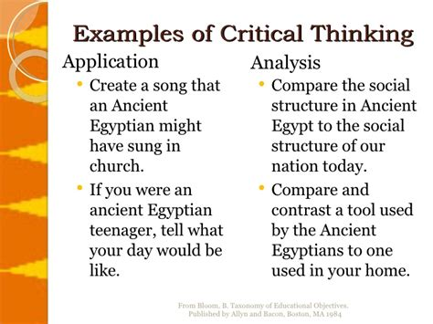 exle of critical thinking critical thinking