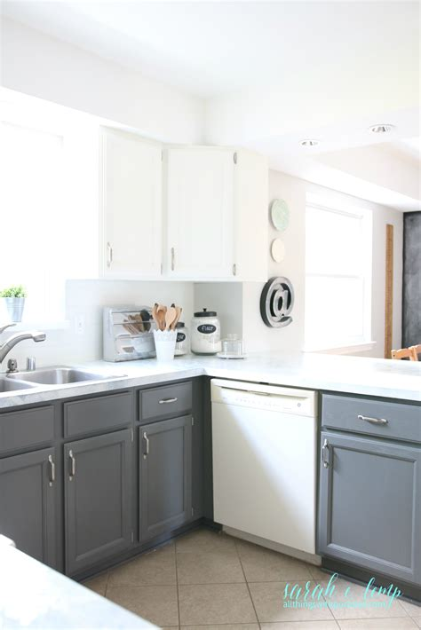 gray and white l remodelaholic diy budget friendly white kitchen
