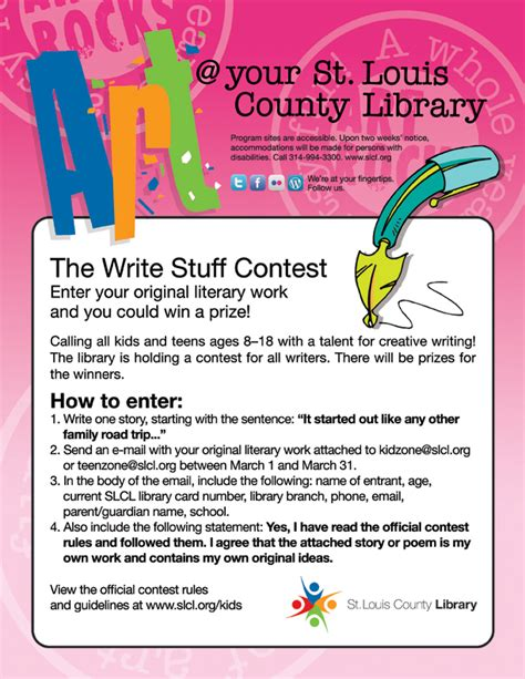 The Write Stuff Essay Contest st louis county library hosts writing contest for and