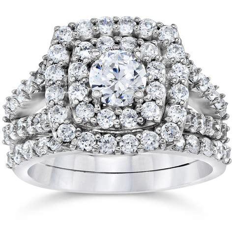 2 carat cushion halo engagement wedding ring set