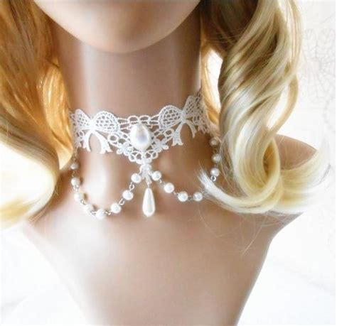 White Lace Choker Plain Necklace Kalung Handmade wedding jewelry handmade unique white lace chokers necklaces vintage