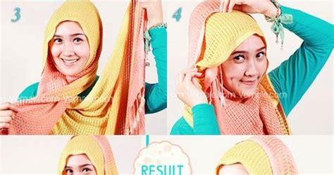 tutorial hijab pashmina rajut cara memakai jilbab praktis simpel dengan pashmina rajut