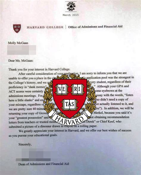 Harvard Decline Letter Mixtape harvard rejection letter www imgkid the image kid