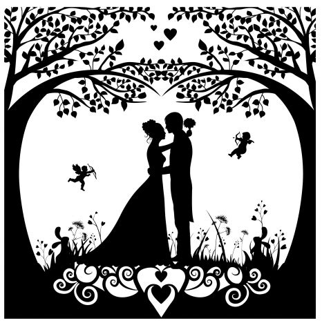 silhouette cards templates wedding background template with silhouette style design