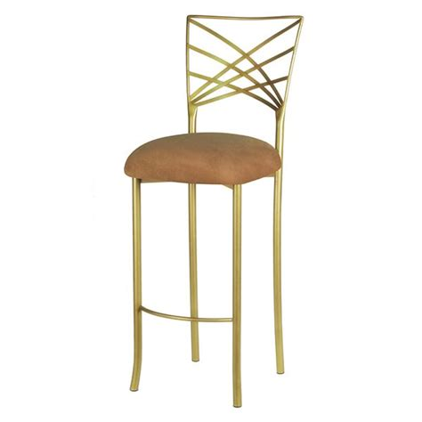 Blue Suede Bar Stools by Gold Fanfare Barstool With Brown And Gold Stripe Cushion