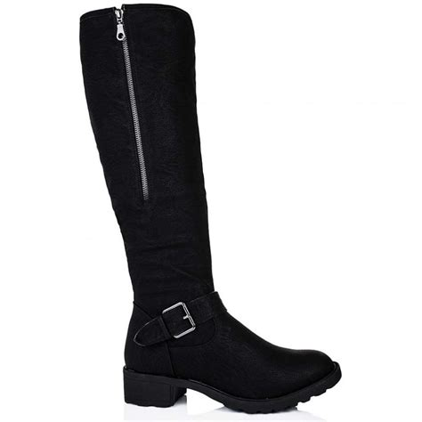 buy buckled shearling knee high biker boots black