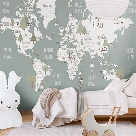 Map Of The World Wall Mural little hands wallpaper bring magic into your kids room