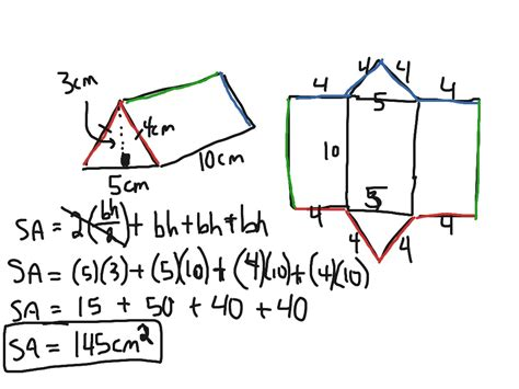 How To Find From School Surface Area Triangular Prism Math Geometry Surface