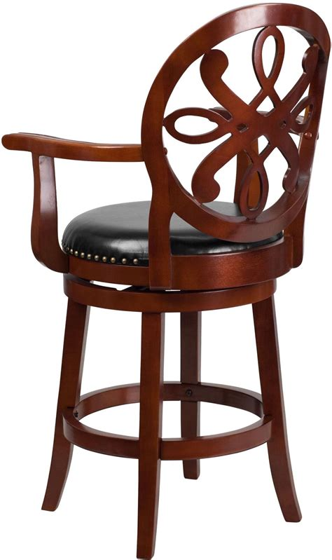 Cherry Swivel Counter Stools by 26 Quot Black Swivel High Cherry Wood Counter Stool With Arms