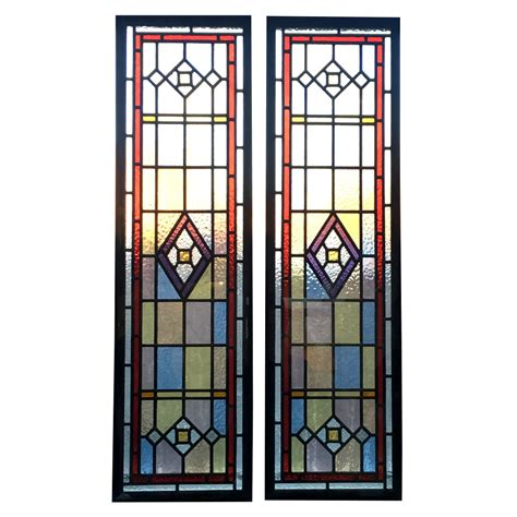 detailed stained glass panels from period home