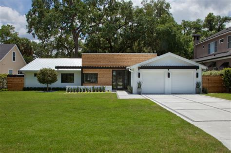 mid century modern home designs with white and brown beautiful ideas of luxury ranch house plans to be stunned