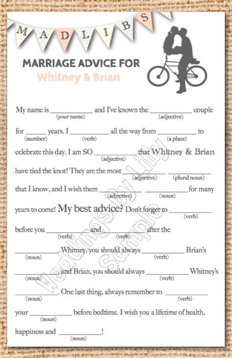 printable wedding shower mad libs wedding mad libs printable