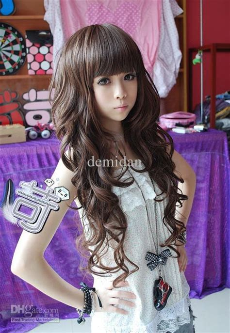 anime hairstyles cosplay wholesale lovely wig long curly hair fluffy f006 lovely
