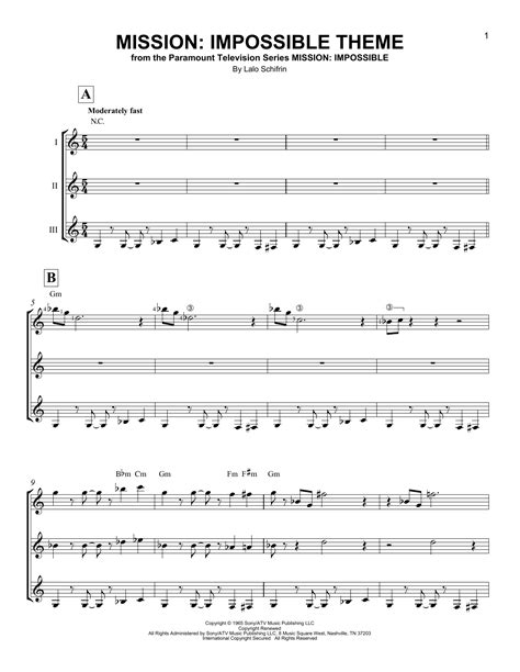 theme music of mission impossible mission impossible theme sheet music by lalo schifrin