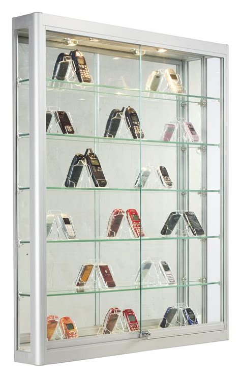 trophy display cabinets with glass doors locking wall retail showcase silver aluminum framing