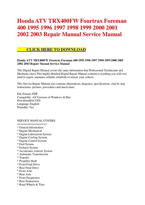 service manual free owners manual for a 1995 dodge ram van 2500 1994 1995 1996 1997 1998 honda atv trx400 fw fourtrax foreman 400 1995 1996 1997 1998 1999 200