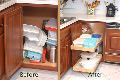 Storage Solutions For Corner Kitchen Cabinets Blind Corner Cabinet Solution Before After Kitchen Drawer Organizers New York By