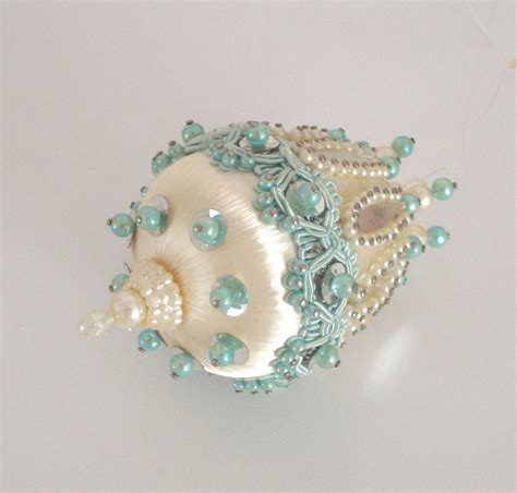 vintage beaded ornament christmas blue pearls by iwantvintage
