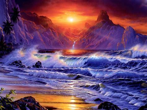 sunset sea shore sea waves rocky mountains red sky dark