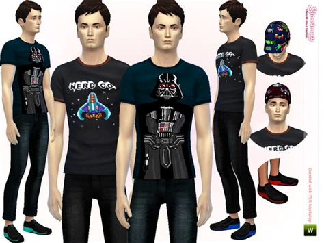 sims 4 cc male geek shirts the sims resource nerd co casual set by simsimay sims