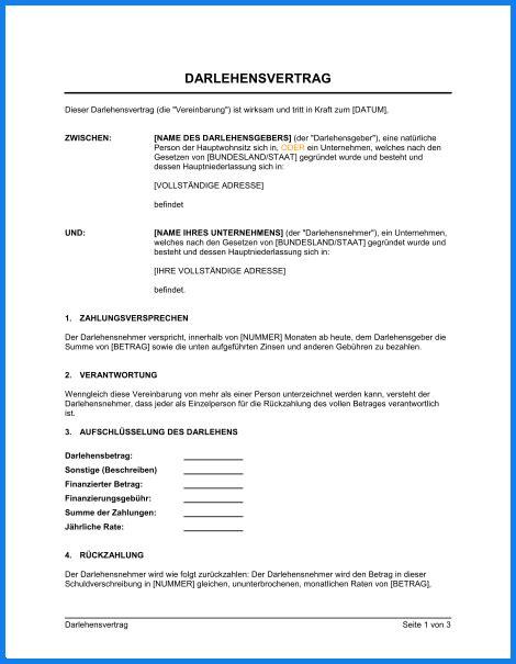 Muster Privater Darlehensvertrag muster darlehensvertrag invitation templated