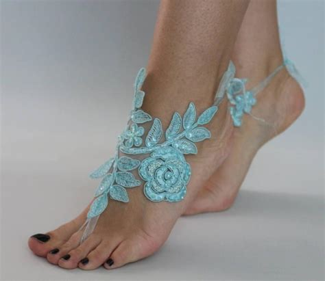 Lace Sandals Wedding by Blue Lace Barefoot Sandals Sandals Wedding Barefoot