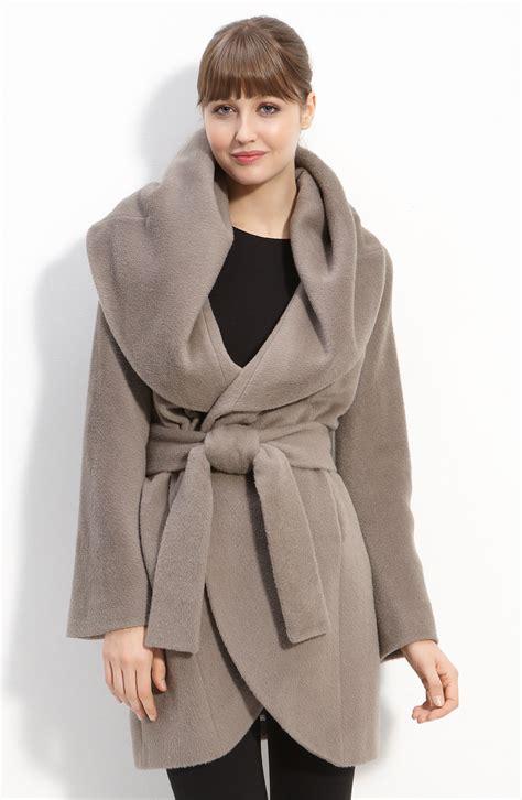 Hooded Coat elie tahari hooded wrap coat in gray mink lyst