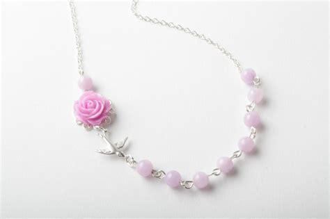 purple rose bird necklace delicate necklace purple