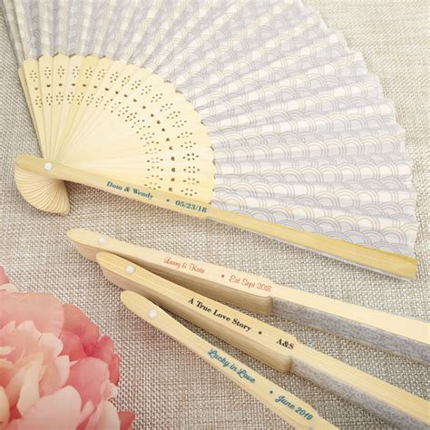 personalized folding fans for weddings personalized fan wedding favors silver scallop folding fan