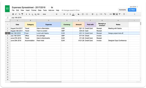 template to track credit card transactions on employees self employed expenses spreadsheet
