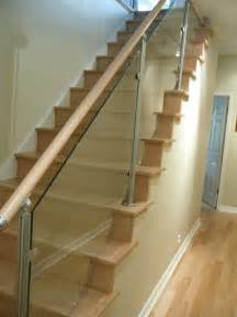 Glass Stair Banisters by Wood Stairs And Stainless Steel Glass Railings