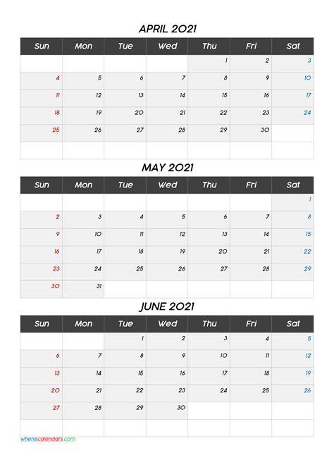 april  june  calendar template template codecoco