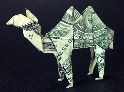 dollar bill origami camel made with a 1 bill designed
