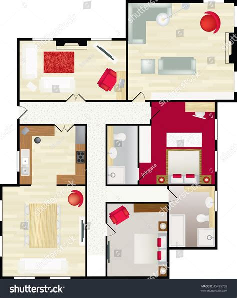 typical floor plan of a house typical floor plan of a house in color with furnishings