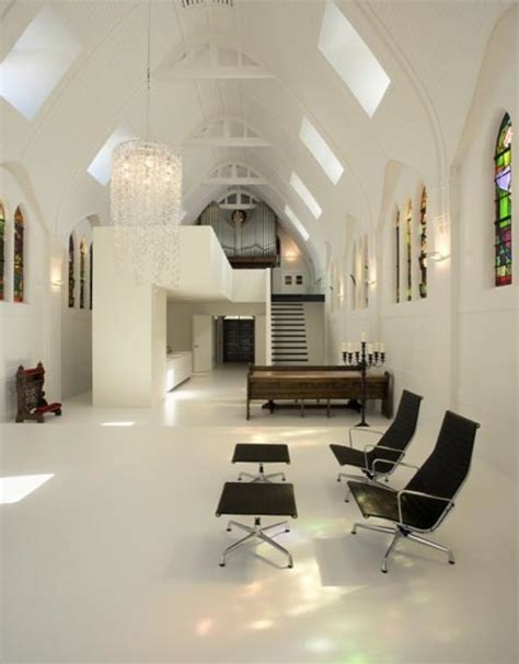 white interior church remodeled into modern home
